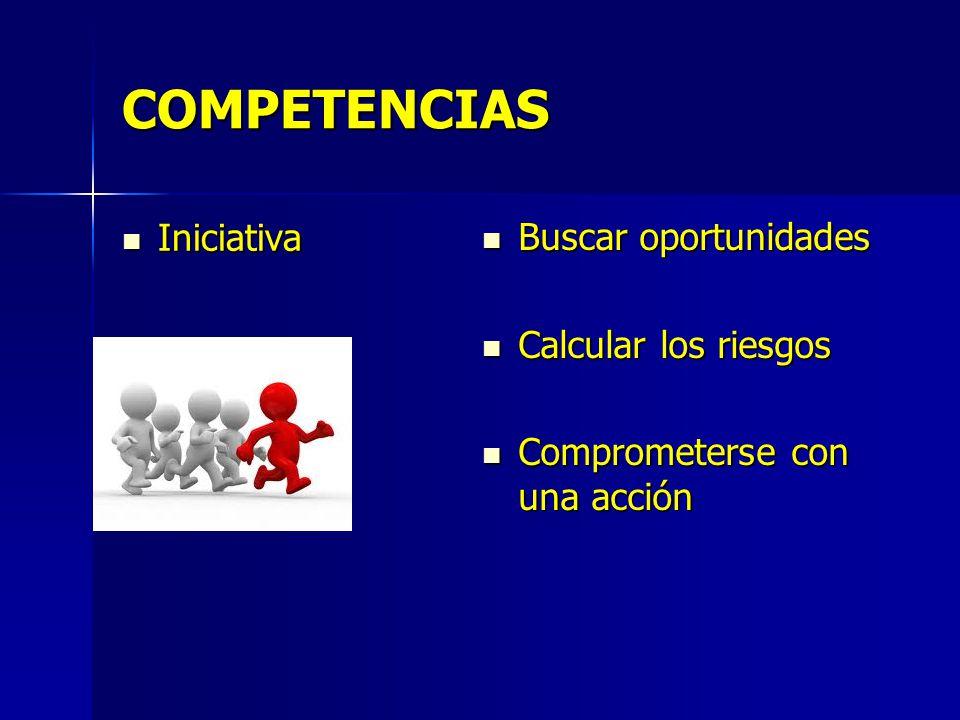 COMPETENCIAS Iniciativa Buscar oportunidades Calcular los riesgos