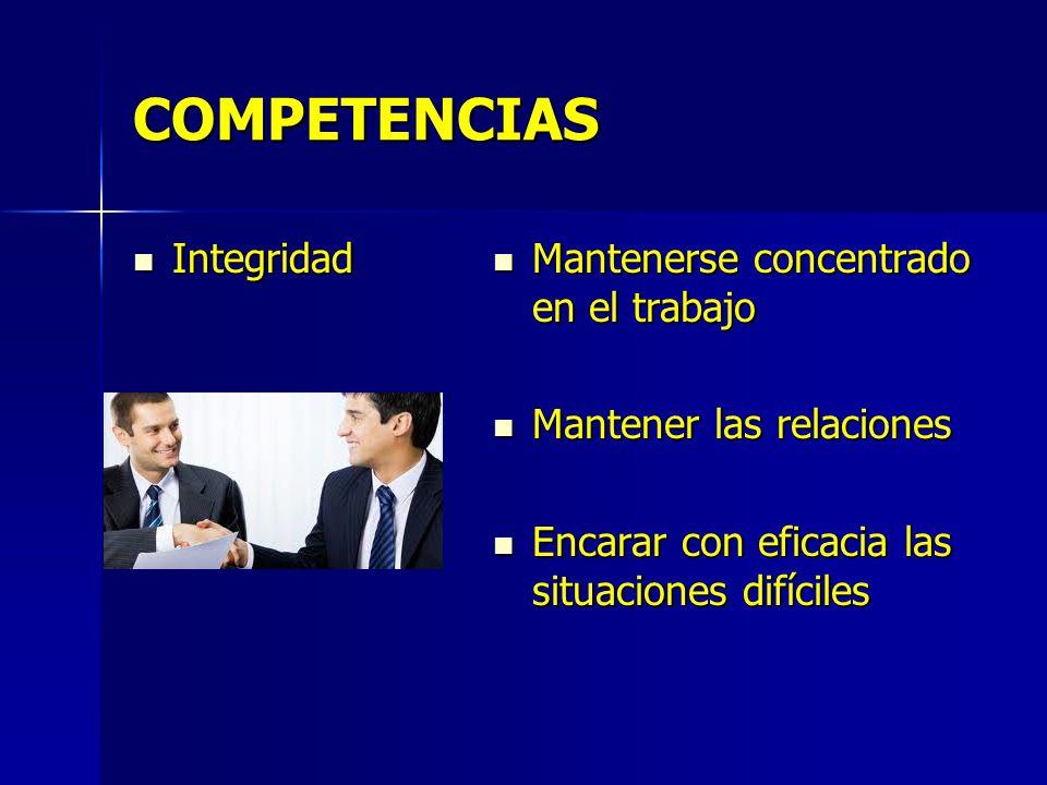 COMPETENCIAS Integridad Mantenerse concentrado en el trabajo