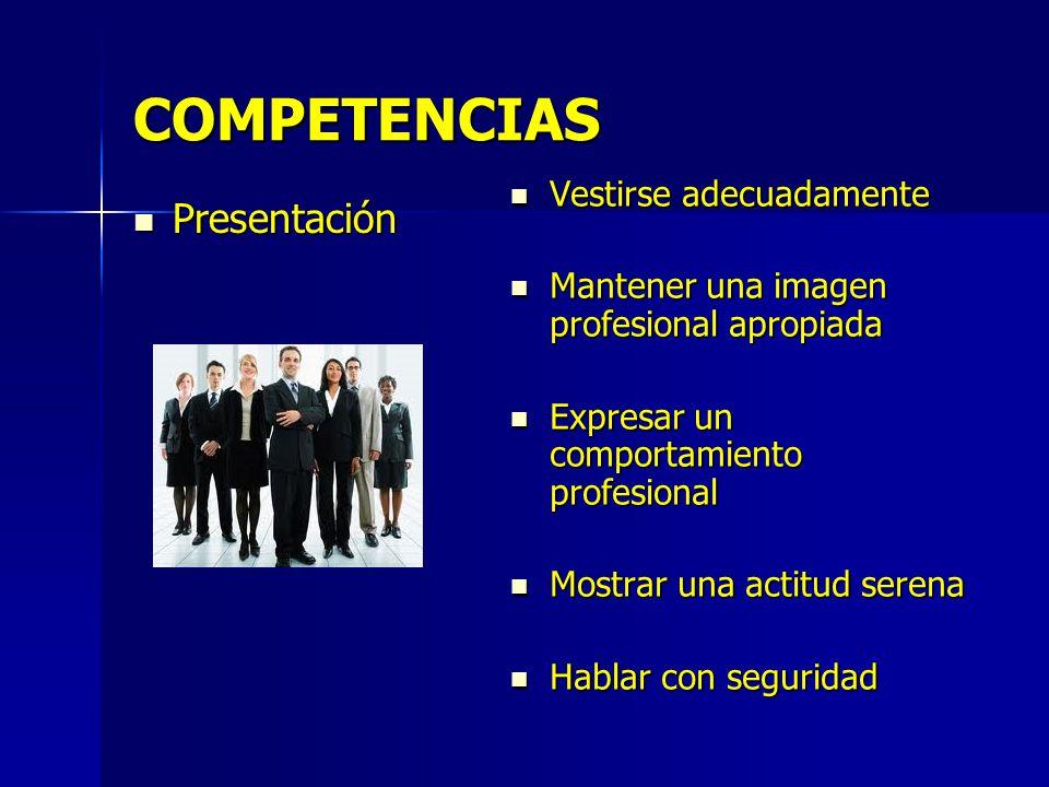 COMPETENCIAS Presentación Vestirse adecuadamente