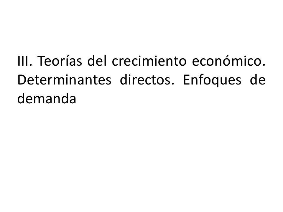 III. Teorías del crecimiento económico. Determinantes directos