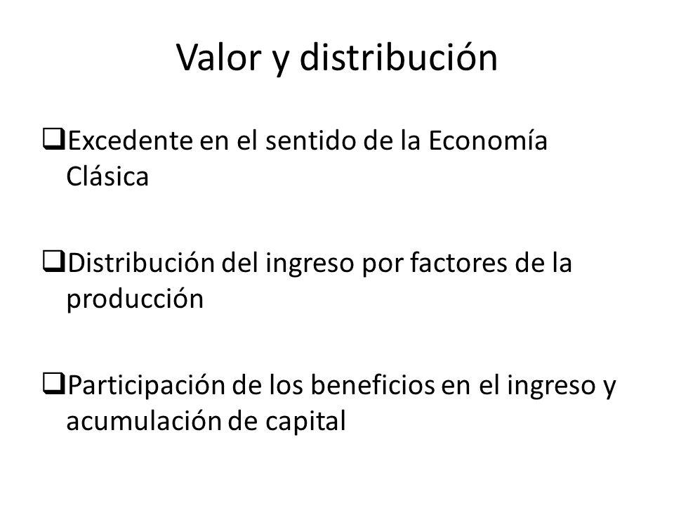 Valor y distribución Excedente en el sentido de la Economía Clásica