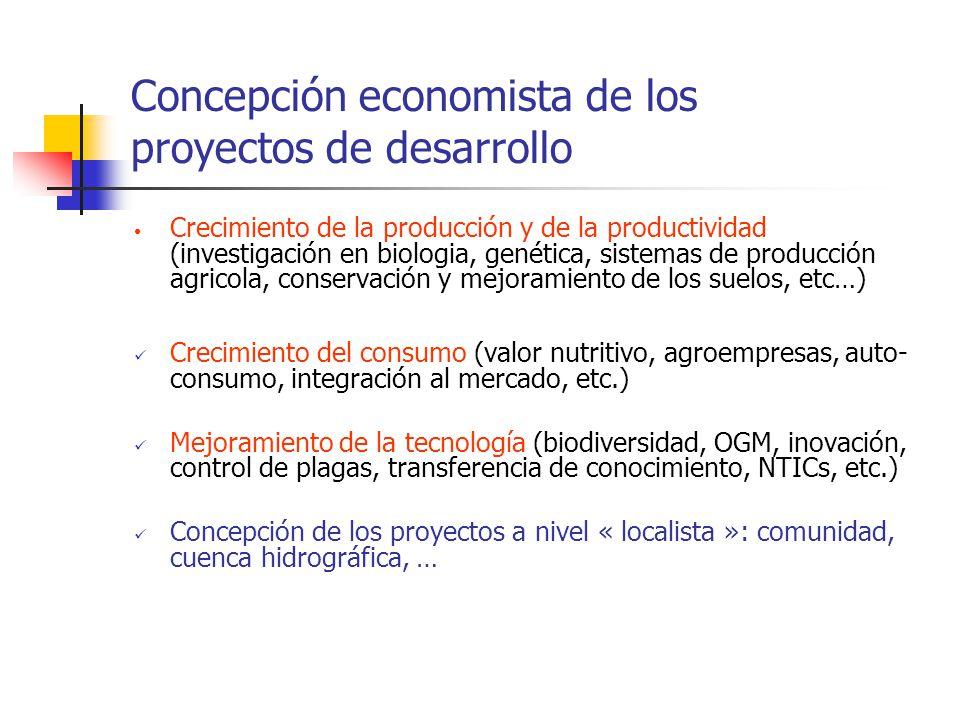 Concepción economista de los proyectos de desarrollo