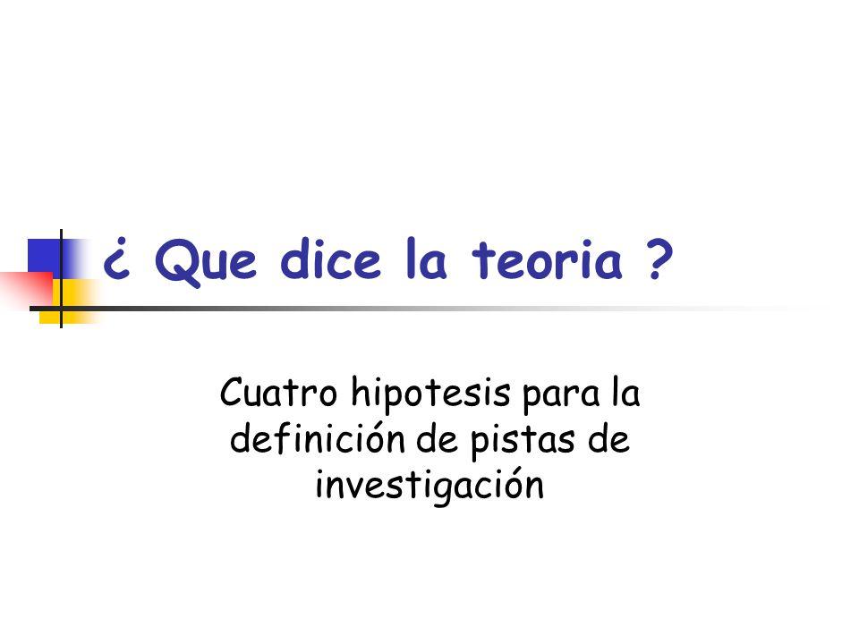 Cuatro hipotesis para la definición de pistas de investigación