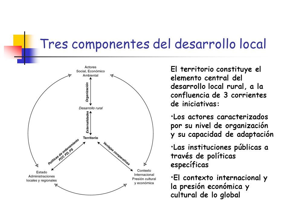 Tres componentes del desarrollo local