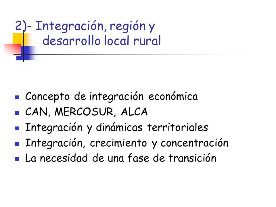 2)- Integración, región y desarrollo local rural