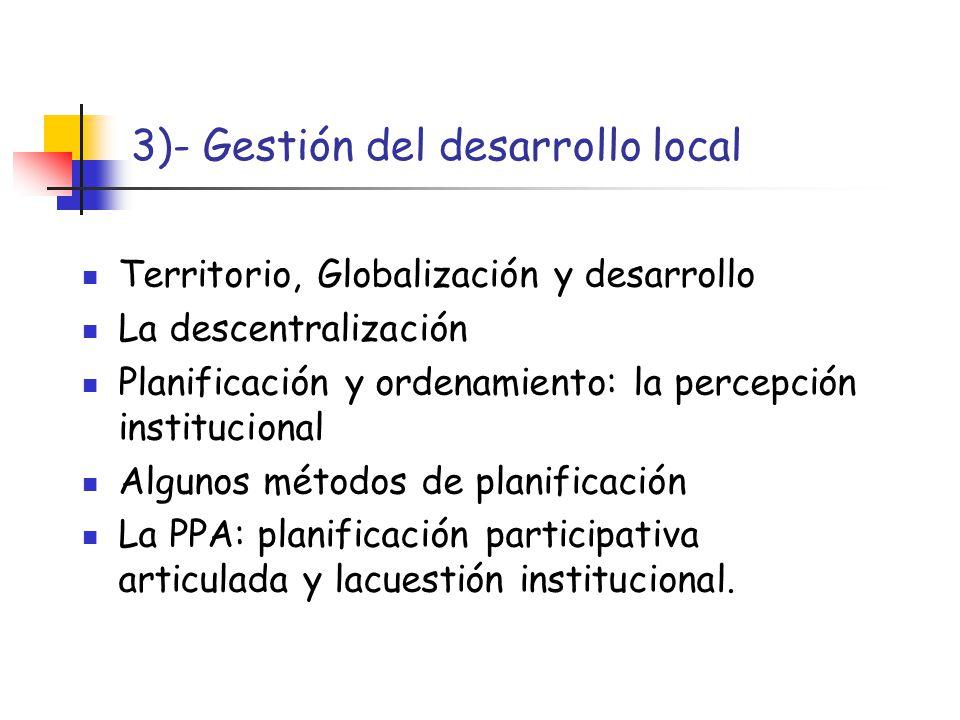 3)- Gestión del desarrollo local