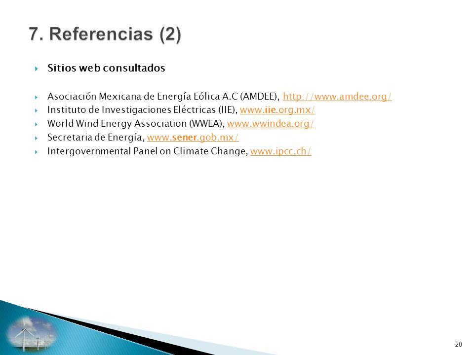 7. Referencias (2) Sitios web consultados