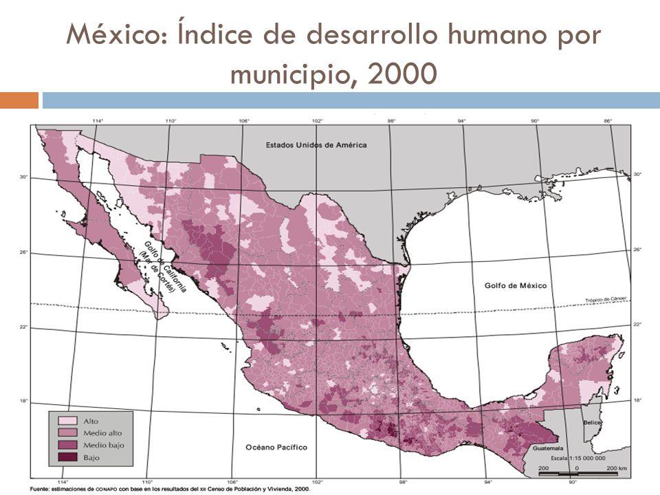 México: Índice de desarrollo humano por municipio, 2000