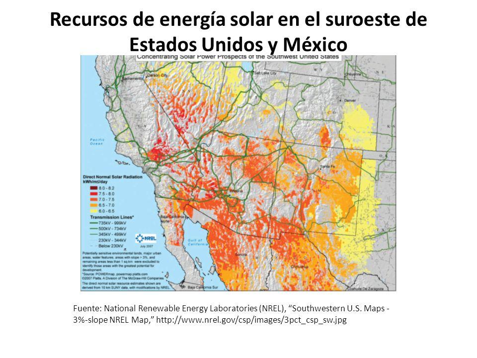 Recursos de energía solar en el suroeste de Estados Unidos y México