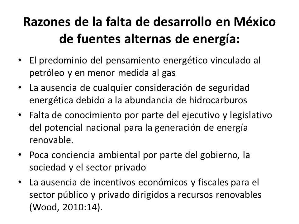Razones de la falta de desarrollo en México de fuentes alternas de energía: