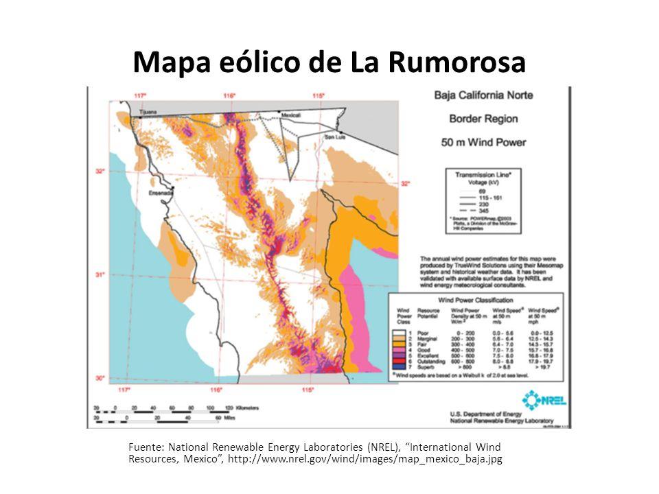 Mapa eólico de La Rumorosa