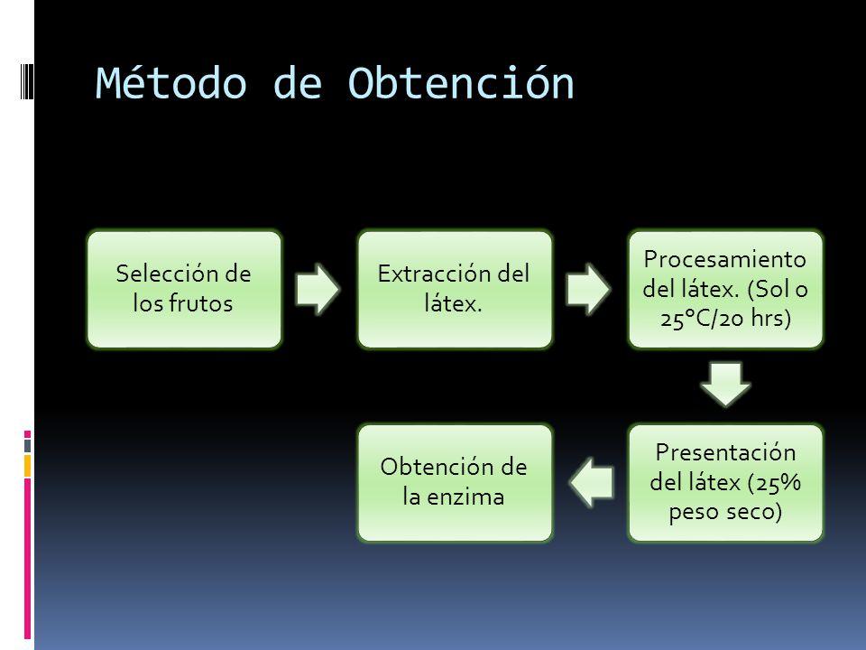 Método de Obtención Selección de los frutos Extracción del látex.