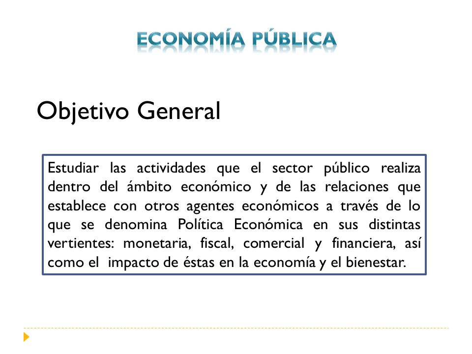 Objetivo General Economía PÚBLICA