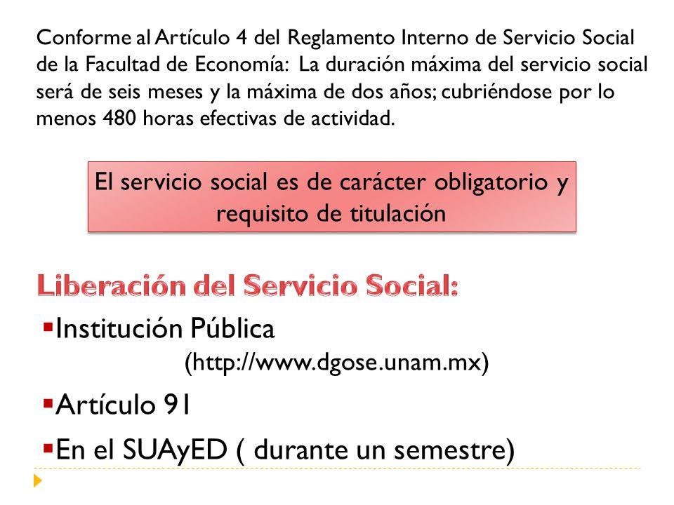 Liberación del Servicio Social: Institución Pública Artículo 91