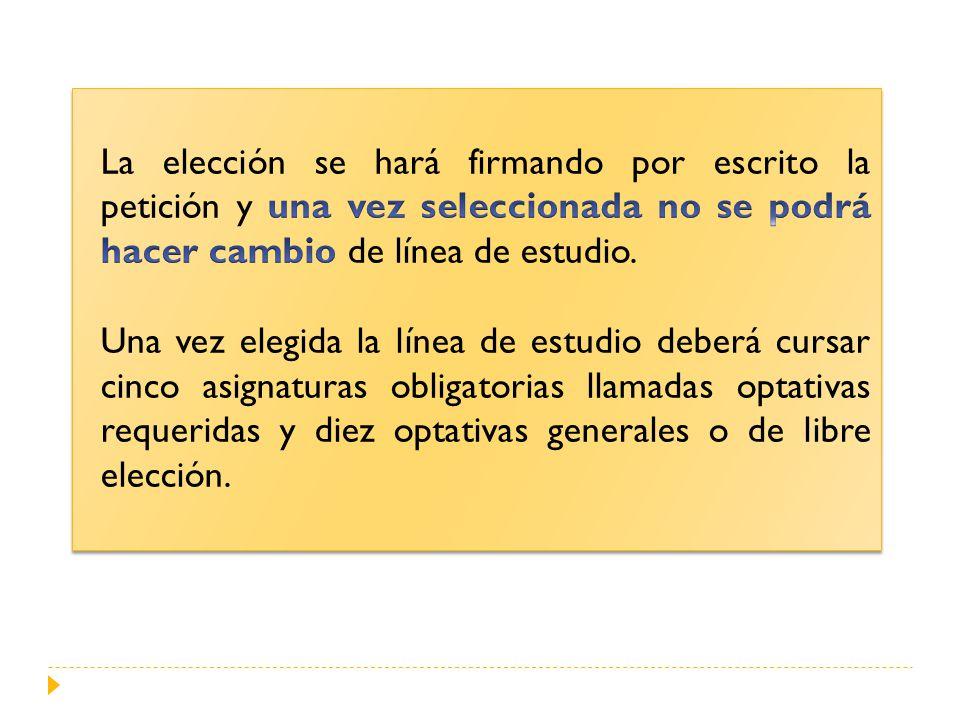 La elección se hará firmando por escrito la petición y una vez seleccionada no se podrá hacer cambio de línea de estudio.