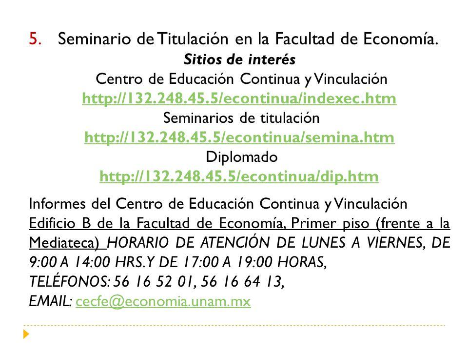 Seminario de Titulación en la Facultad de Economía.