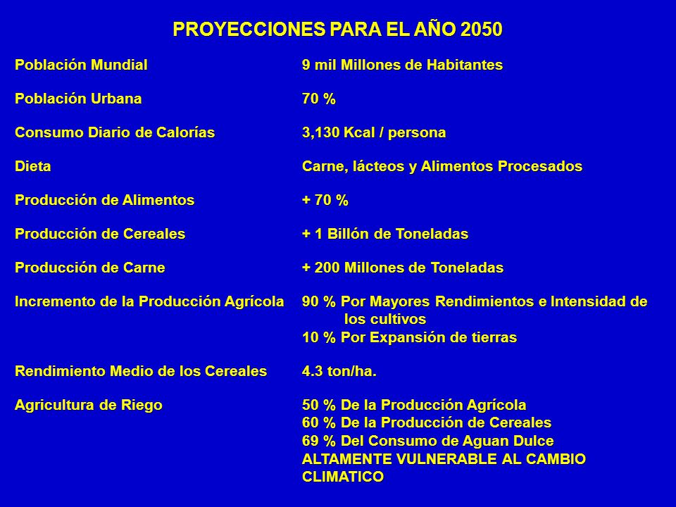 PROYECCIONES PARA EL AÑO 2050