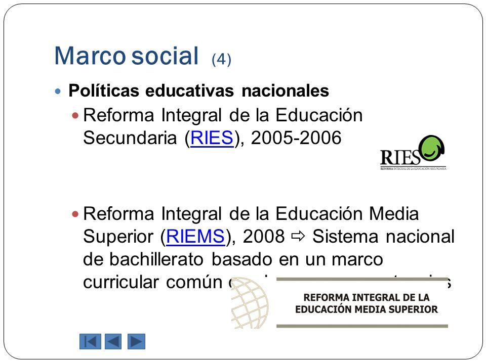 Marco social (4) Políticas educativas nacionales. Reforma Integral de la Educación Secundaria (RIES), 2005-2006.