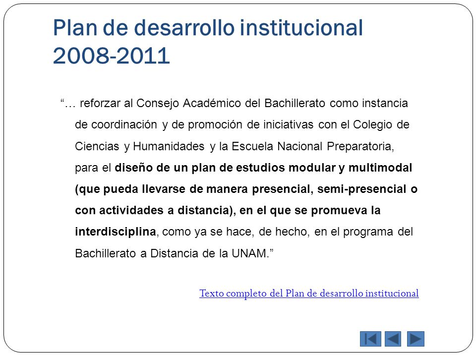 Plan de desarrollo institucional 2008-2011