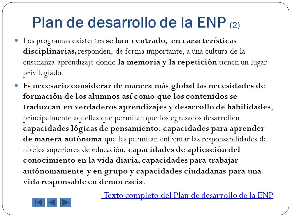 Plan de desarrollo de la ENP (2)