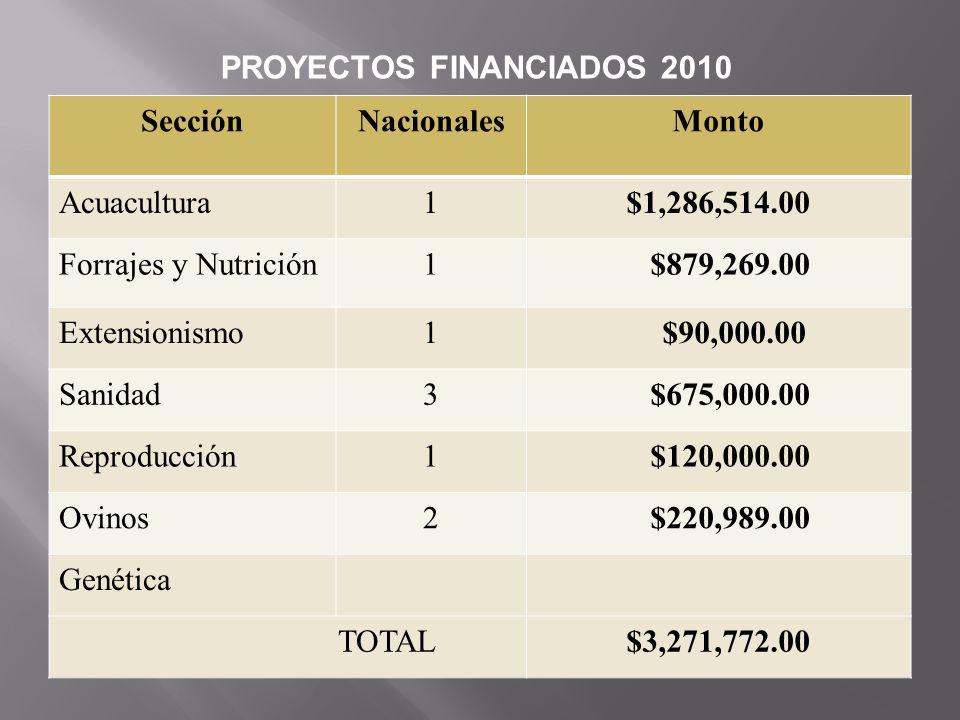 PROYECTOS FINANCIADOS 2010