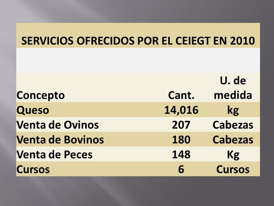 SERVICIOS OFRECIDOS POR EL CEIEGT EN 2010