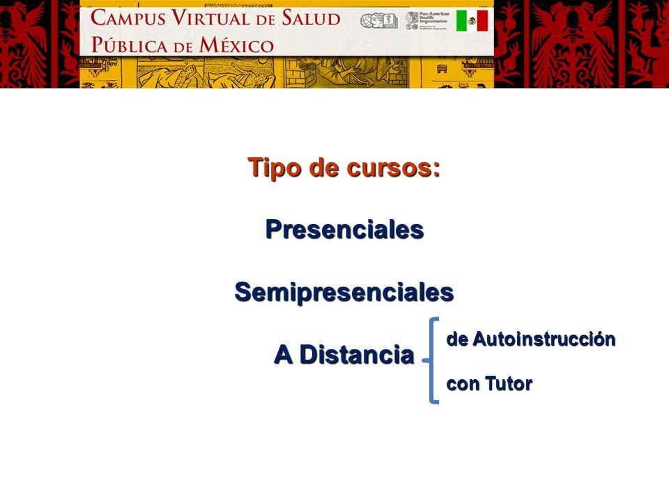 Tipo de cursos: Presenciales Semipresenciales A Distancia