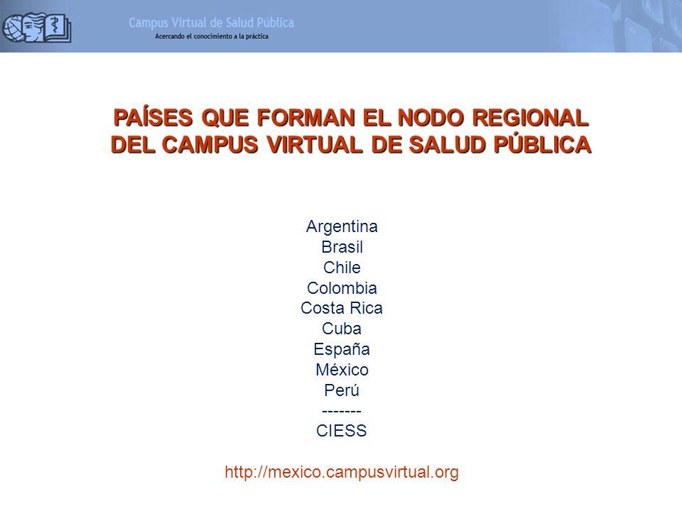 PAÍSES QUE FORMAN EL NODO REGIONAL DEL CAMPUS VIRTUAL DE SALUD PÚBLICA