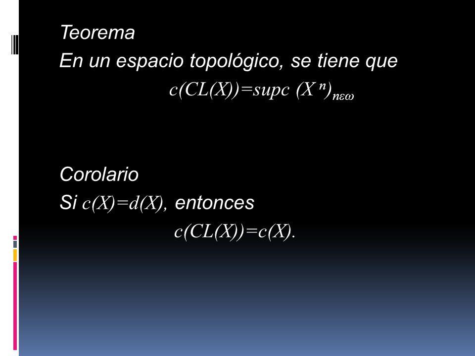 Teorema En un espacio topológico, se tiene que c(CL(X))=supc (X n)nεω Corolario Si c(X)=d(X), entonces c(CL(X))=c(X).