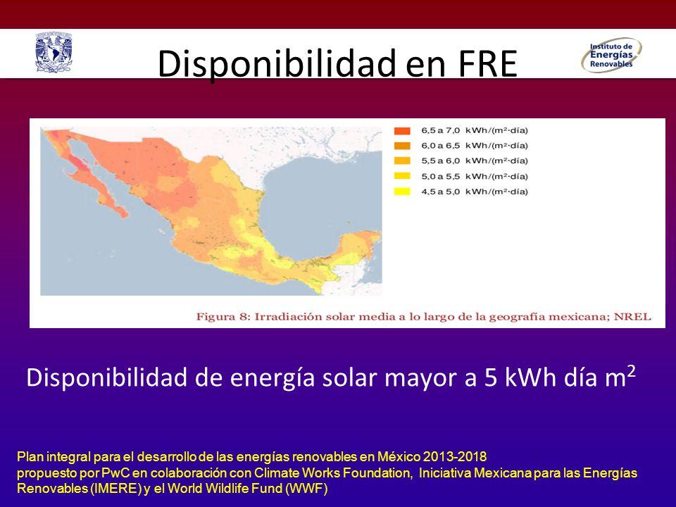 Disponibilidad en FRE Disponibilidad de energía solar mayor a 5 kWh día m2.