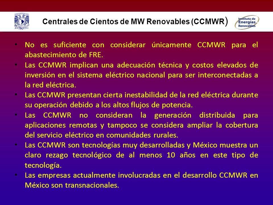 Centrales de Cientos de MW Renovables (CCMWR)