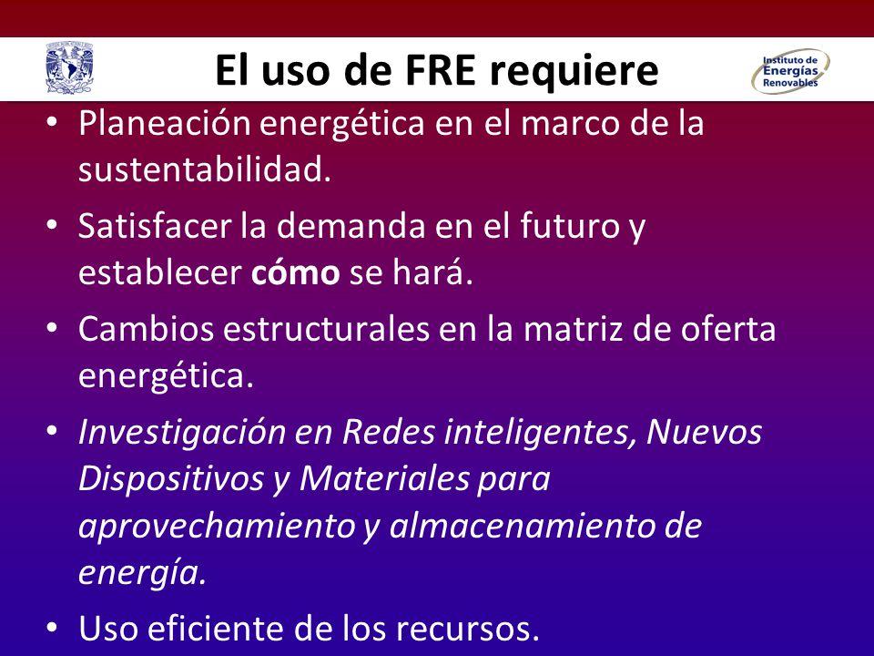 El uso de FRE requiere Planeación energética en el marco de la sustentabilidad. Satisfacer la demanda en el futuro y establecer cómo se hará.