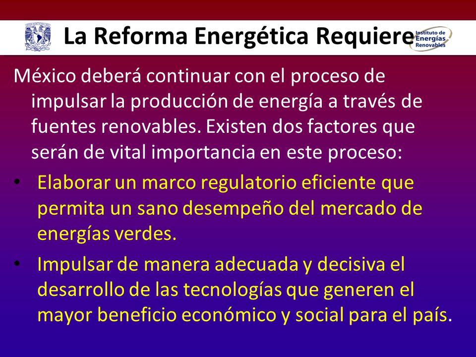 México deberá continuar con el proceso de impulsar la producción de energía a través de fuentes renovables. Existen dos factores que serán de vital importancia en este proceso: