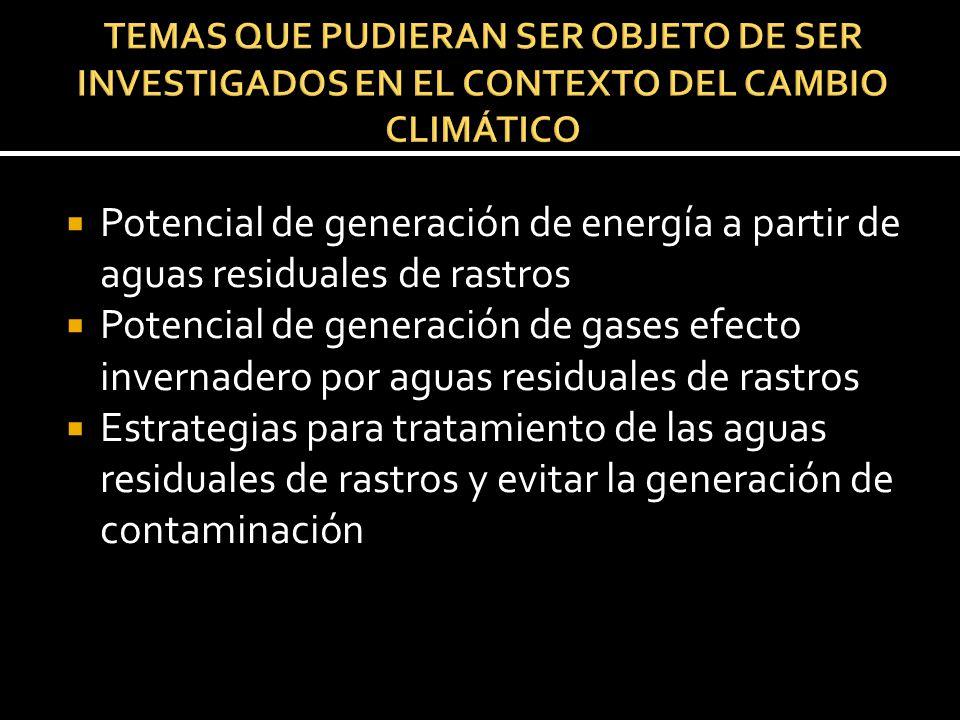 TEMAS QUE PUDIERAN SER OBJETO DE SER INVESTIGADOS EN EL CONTEXTO DEL CAMBIO CLIMÁTICO