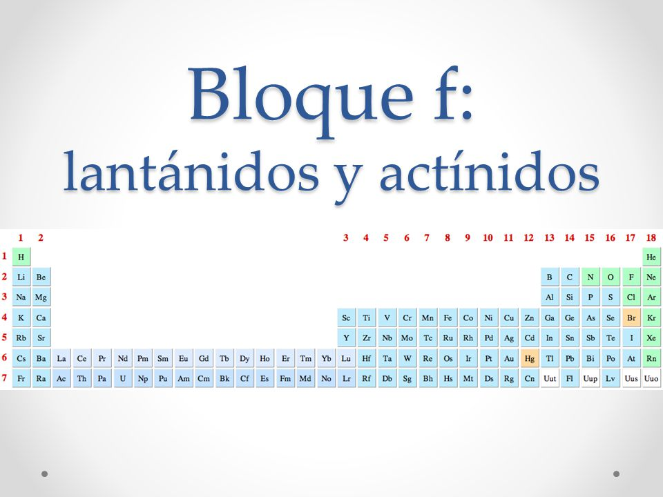 Bloque f: lantánidos y actínidos