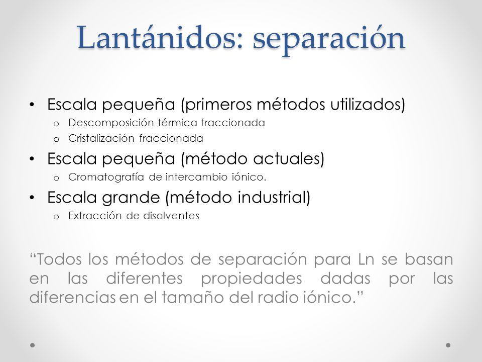 Lantánidos: separación