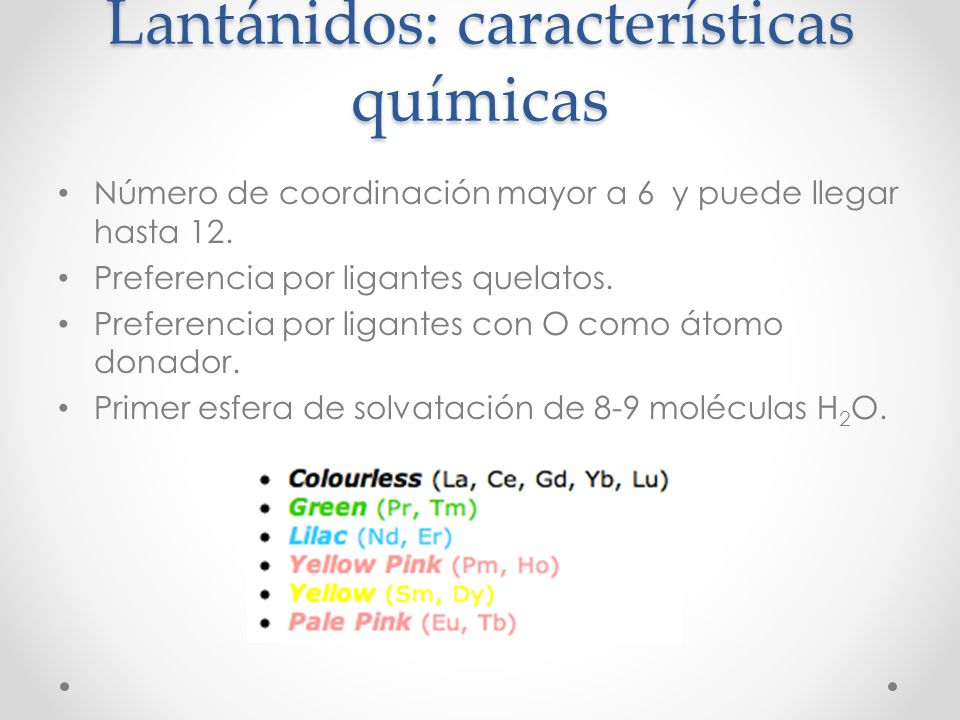 Lantánidos: características químicas