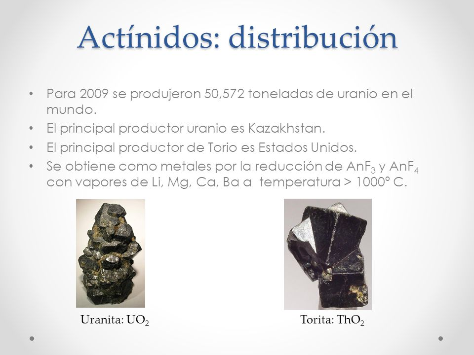 Actínidos: distribución