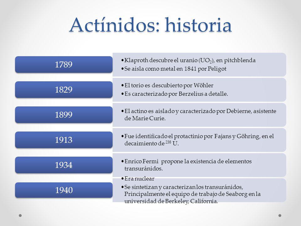 Actínidos: historia Klaproth descubre el uranio (UO2), en pitchblenda. Se aisla como metal en 1841 por Peligot.
