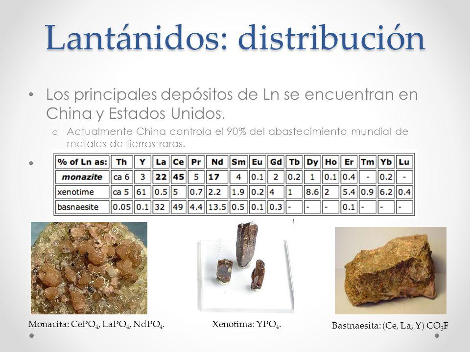Lantánidos: distribución
