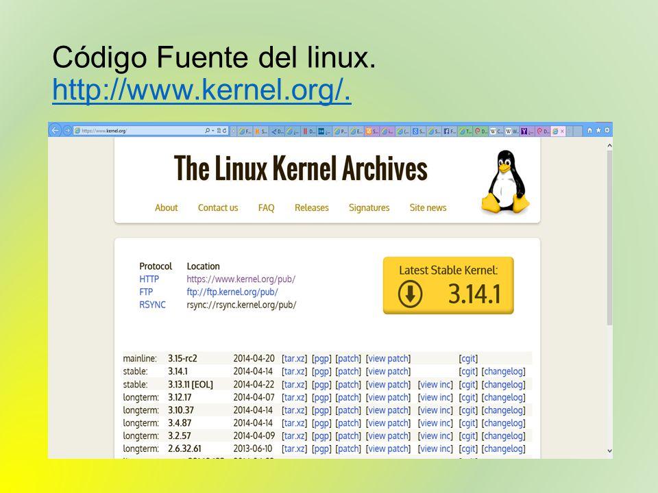 Código Fuente del linux. http://www.kernel.org/.