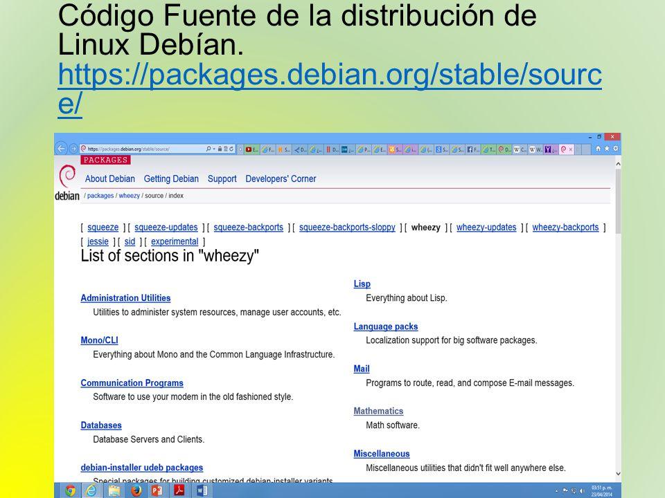 Código Fuente de la distribución de Linux Debían. https://packages