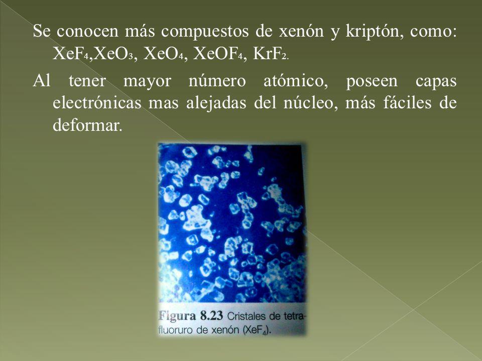 Se conocen más compuestos de xenón y kriptón, como: XeF4,XeO3, XeO4, XeOF4, KrF2.