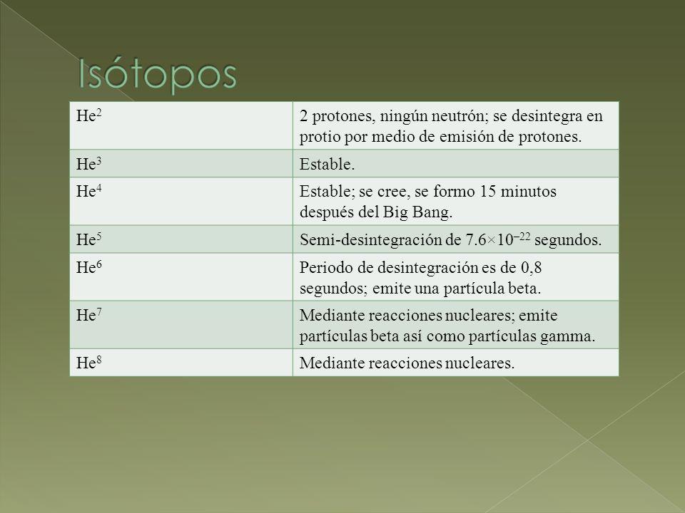 Isótopos He2. 2 protones, ningún neutrón; se desintegra en protio por medio de emisión de protones.