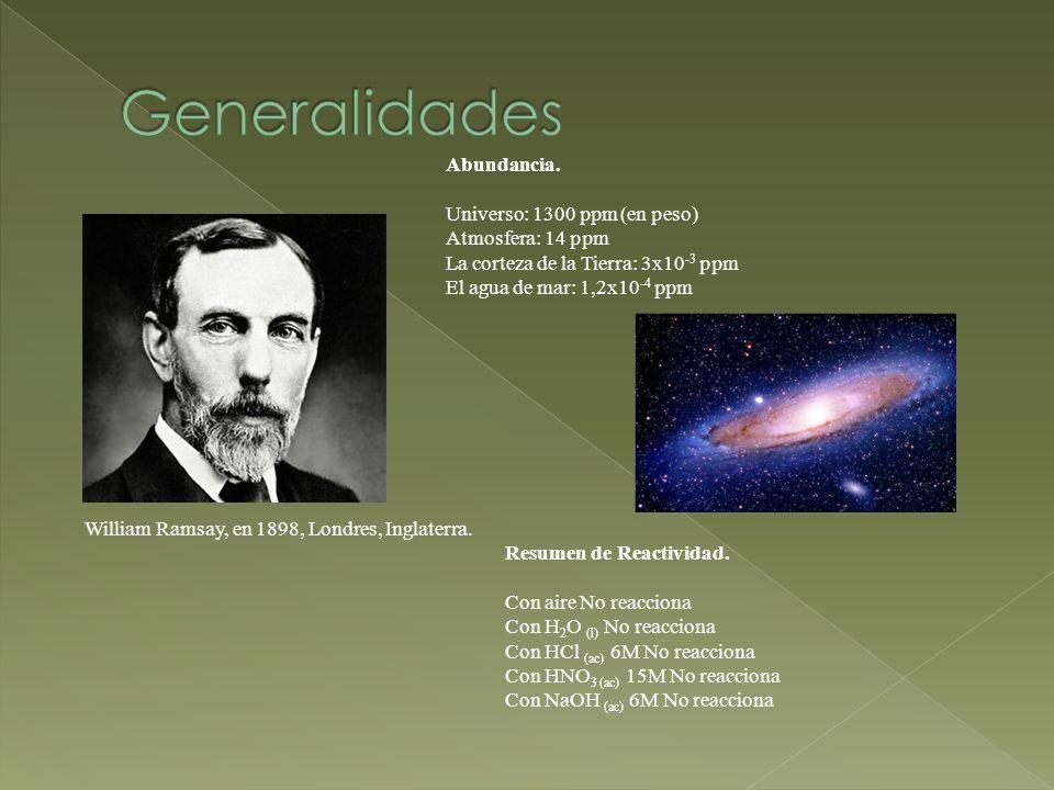 Generalidades Abundancia. Universo: 1300 ppm (en peso)