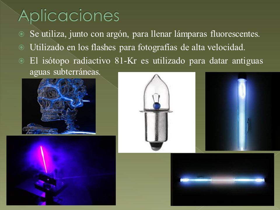 Aplicaciones Se utiliza, junto con argón, para llenar lámparas fluorescentes. Utilizado en los flashes para fotografías de alta velocidad.