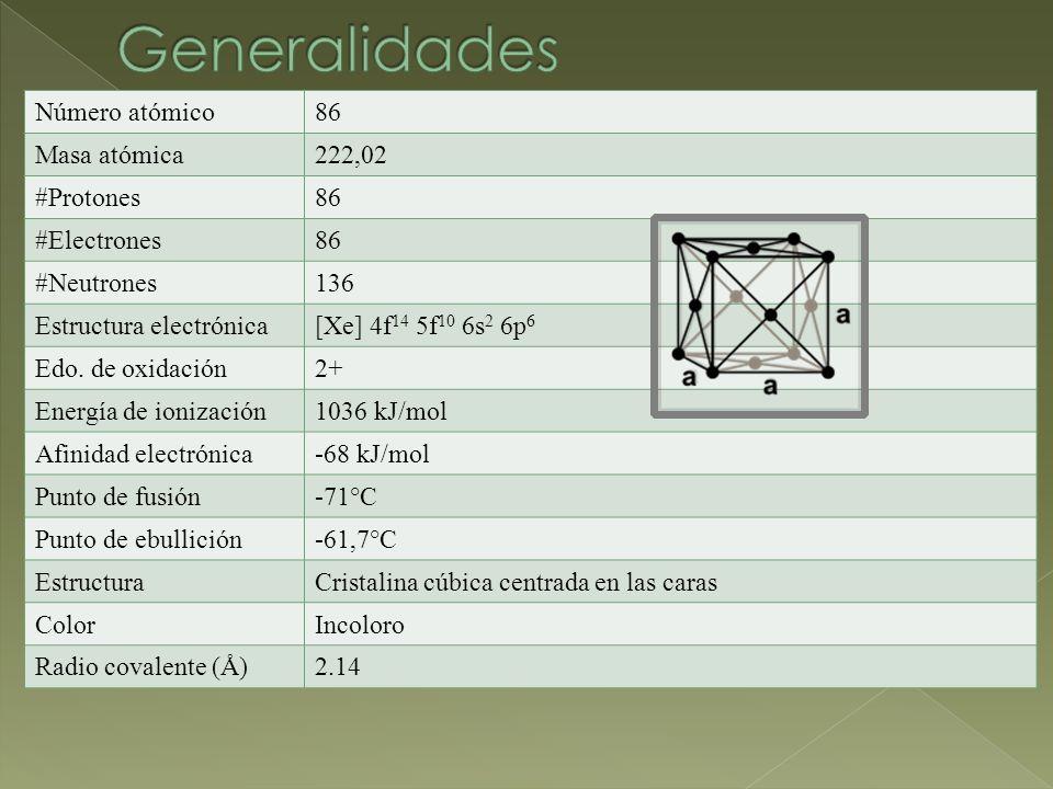 Generalidades Número atómico 86 Masa atómica 222,02 #Protones