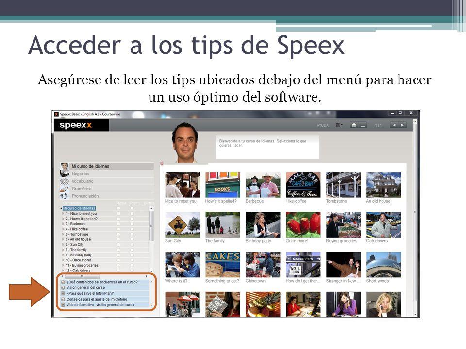 Acceder a los tips de Speex