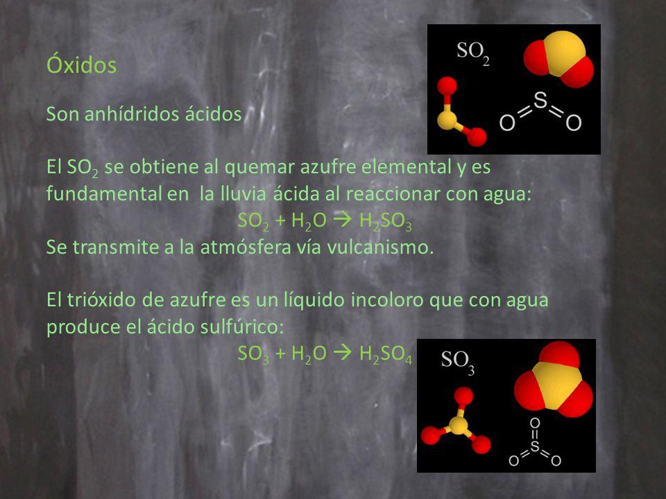 Óxidos Son anhídridos ácidos