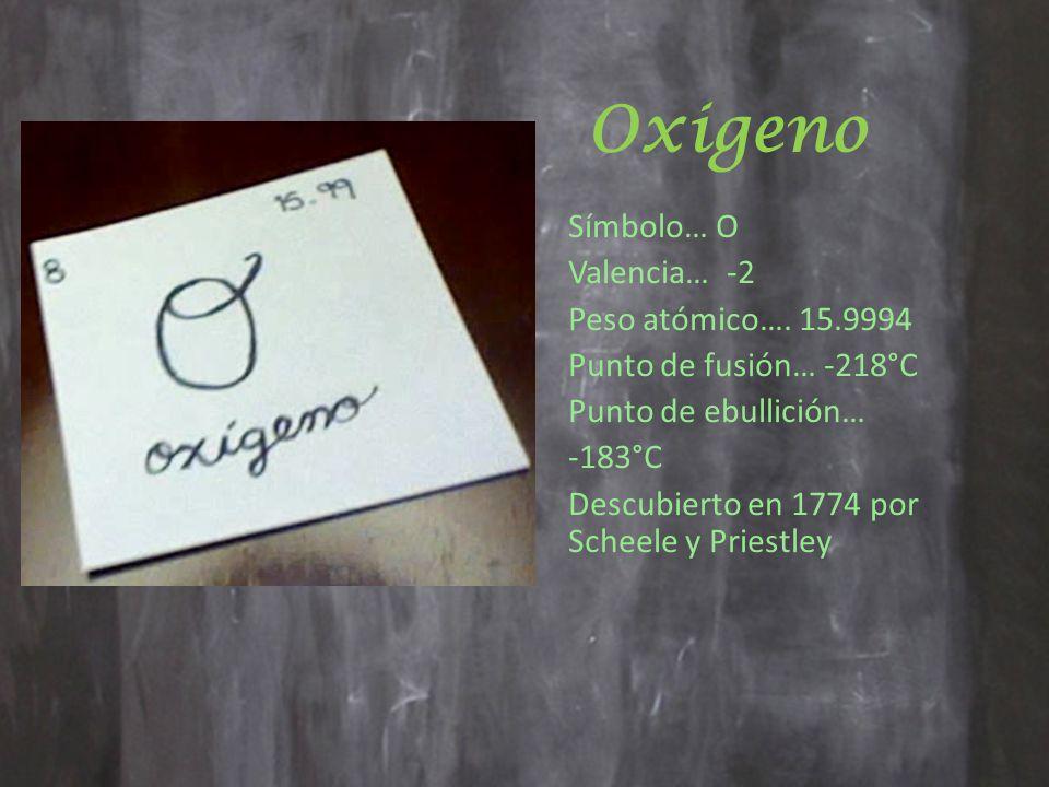 Oxigeno Símbolo… O Valencia… -2 Peso atómico…. 15.9994